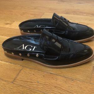 AGL Italian black patent loafer studded slides 39